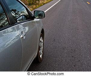 arrière, campagne, route, vue, voiture, perspective, côté