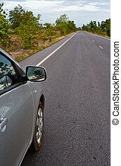 arrière, campagne, vue côté, perspective, voiture, route