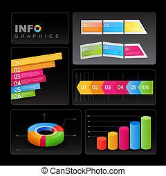 arrière-plan., éléments, noir, info-graphic