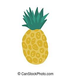 arrière-plan., ananas, main, blanc, isolé, dessiné, style