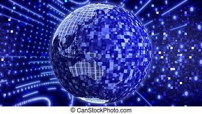 arrière-plan animation, bleu, 4k, boucle, matrice, earth., planète, binaire, event., réseau, tourner, seamless, numérique
