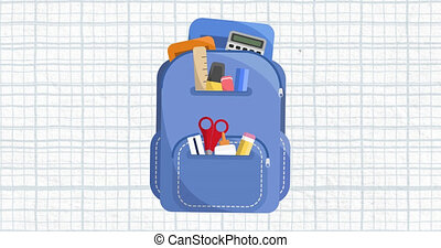 arrière-plan animation, instruire sac, bleu, blanc, grille