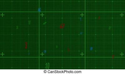 arrière-plan animation, nombres, vert