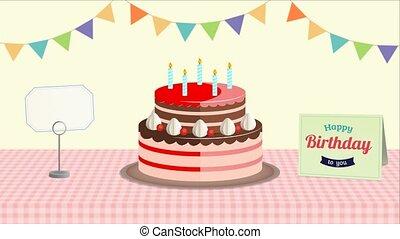 arrière-plan., anniversaire, heureux, animé, salutation
