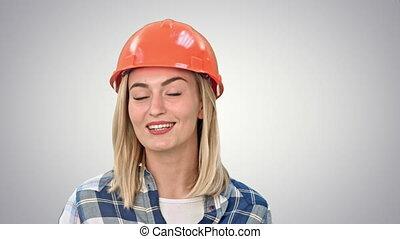 arrière-plan., appareil photo, ouvrier, conversation, construction, blanc