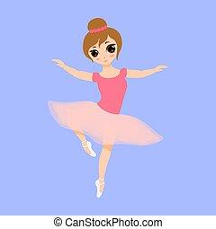 arrière-plan., ballerine, vecteur, girl, tutu, illustration, dessin animé, rose, petit, plat, mignon, gosse, isolé, dress., bleu, danser., beau