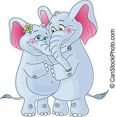 arrière-plan., blanc, aimer, couple., éléphants