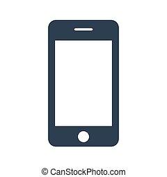arrière-plan., blanc, smartphone, icône