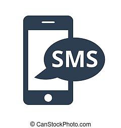arrière-plan., blanc, sms, icône