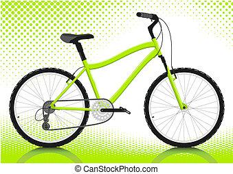 arrière-plan., blanc, vélo, vector.