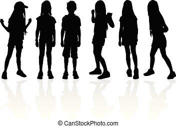 arrière-plan., blanc, vecteur, silhouette, enfants