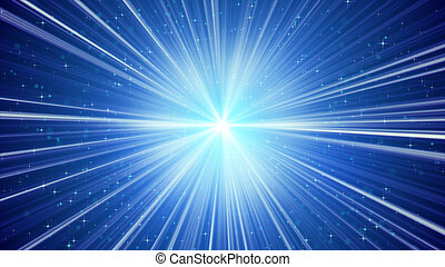 arrière-plan bleu, étoiles, lumière, briller, rayons