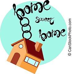 arrière-plan., bleu, plat, porte clé, illustration, peu, maison, vecteur, doux, maison, style, inscription