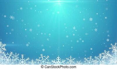 arrière-plan bleu, seamless, chute neige, boucle