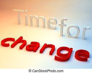 arrière-plan bleu, sur, changement, mots, temps, rouges