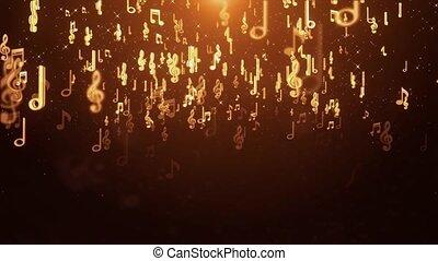 arrière-plan., boucle, lumières, bokeh, tordre, musique note, étoiles, doré