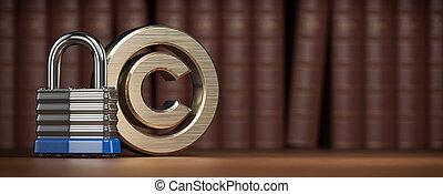 arrière-plan., cadenas, propriété, symbole, livres, protection, concept., droit & loi, intellectuel, droit d'auteur