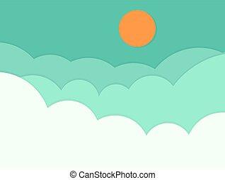 arrière-plan., ciel, nuages, soleil