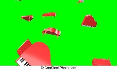 arrière-plan., clã©, vert, chroma, pianos, tomber, rouges