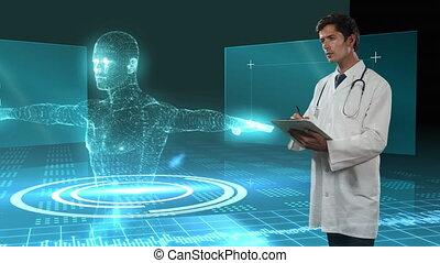 arrière-plan., corps, animation, sur, papiers, humain, 3d, écriture, fichier, docteur, modèle