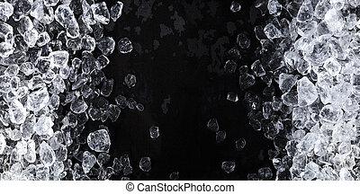 arrière-plan., cubes, morceaux, vue, copie, glace écrasée, noir, espace, sommet