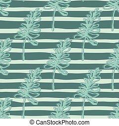 arrière-plan., dépouillé, seamles, bleu vert, main, pattern., silhouettes, feuillage, branches, dessiné, contoured, lumière