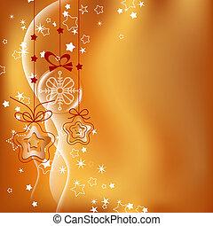 arrière-plan doré, noël ornements, pendre