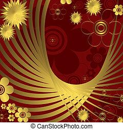 arrière-plan doré, rouges, floral