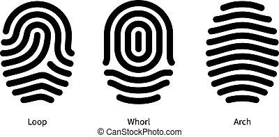 arrière-plan., empreinte doigt, blanc, types, id