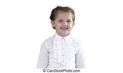 arrière-plan., enfant riant, girl, blanc, heureux