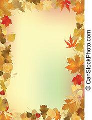 arrière-plan., feuilles, cadre, copyspace, automne