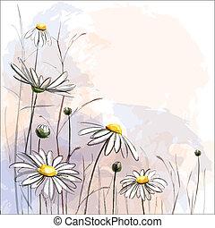 arrière-plan., fleur, romantique, pâquerettes