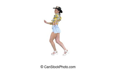 arrière-plan., girl, danses, marche, blanc, cow-boy