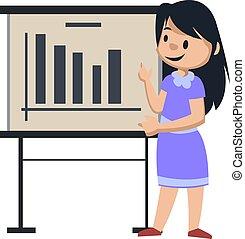 arrière-plan., illustration, analytic, vecteur, girl, blanc, table