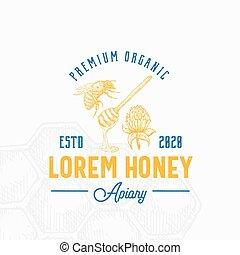 arrière-plan., miel, logo, main, croquis, local, vendange, fleur, prime, template., peigne, dessiné, symbole, cuillère, trèfle, abeille, ou, emblème, signe, typography., retro