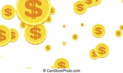 arrière-plan., monnaies tombantes, blanc, or
