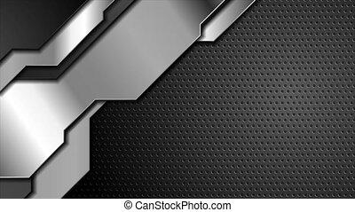 arrière-plan noir, animation, formes, sombre, argent, vidéo, métal, perforé