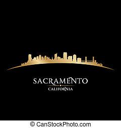 arrière-plan noir, horizon, ville, sacramento, californie, silhouette