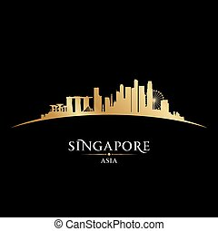 arrière-plan noir, horizon, ville singapour, silhouette
