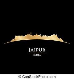 arrière-plan noir, inde, horizon, jaipur, ville, silhouette