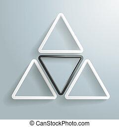 arrière-plan noir, triangle, une, piad, trois, blanc