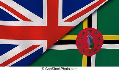 arrière-plan., nouvelles, drapeaux, uni, business, dominica., royaume, illustration, 3d, reportage