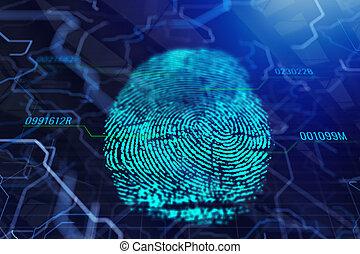 arrière-plan numérique, empreinte doigt