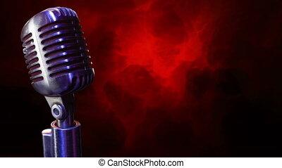 arrière-plan rouge, microphone, noir