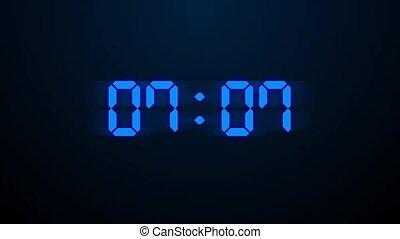 arrière-plan., secondes, mouvement, numérique, dix, graphiques, compte rebours, bleu, minuteur, clair, 10, sombre, incandescent, brillant, 0, animation