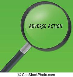arrière-plan., texte, verre, vert, adverse, sous, action, magnifier