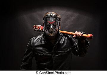 arrière-plan., tueur, hockey, noir, psycho, masque