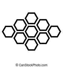 arrière-plan., vecteur, noir, hexagonal, blanc, icône
