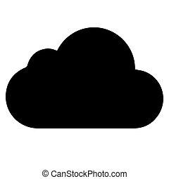 arrière-plan., vecteur, noir, nuage blanc, icône
