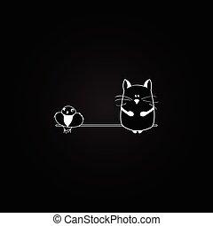 arrière-plan., vecteur, oiseau noir, chat